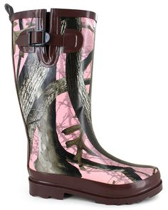 Sleek Stormy Mountain® Camo Rainboot:rubber upper, easy slip-on  construction,