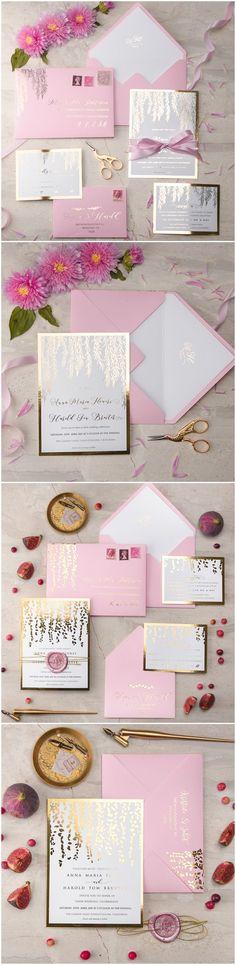 Pink & Gold Foil Printed wedding invitations #weddinginvitation