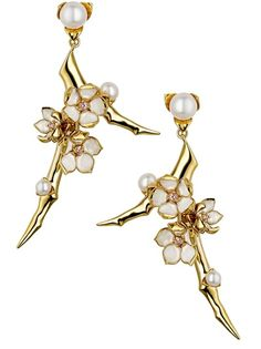 Cherry Blossom Branch Earrings -- Gold vermeil and sterling silver earrings from Shaun Leane featuring a poetic use of craftsmanship with a branch design, pearls as buds, emalic as petals and topazes as centers of blossoming flowers.