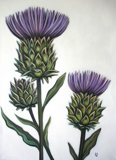 Original Oil by Carin Vaughn of Thistle Flowers Botanical Illustration, Botanical Prints, Scottish Thistle Tattoo, Scottish Tattoos, Thistle Flower, Celtic Designs, Arte Floral, Flower Art, Beautiful Flowers