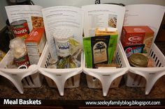 Organization Tip: Meal Baskets, if only i could make a week meal plan:-/