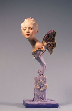 """Fairy Bust, in Kato Polyclay, about 9"""" tall. (Available through About Face Dolls: http://aboutdolls.org/rogers.htm )"""