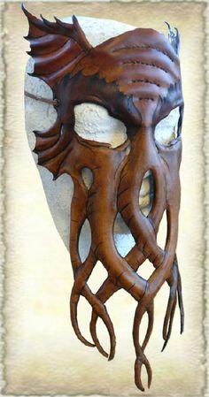 Blij om mijn nieuwste toevoeging aan mijn #etsy shop te kunnen delen: Handcrafted Leather Octopus Mask http://etsy.me/2mMZLgm