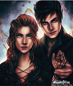 Feyre and Rhys. High lady and high Lord of the Night Court. This is an amazing art pic!