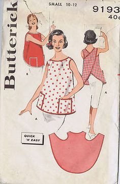 Butterick Pattern  Pattern Number 9193  Copyright: 1960's    Vintage 60's Misses Pull Over Apron Pattern