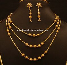 Trendy Multi layer chain with Gold Balls paired with earrings | Latest Indian Jewellery Designs