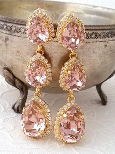 Peach pink and mint Chandelier earrings Bridal by EldorTinaJewelry ...