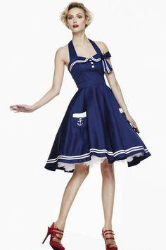 HELL BUNNY MOTLEY 50's nautical DRESS sailor NAVY