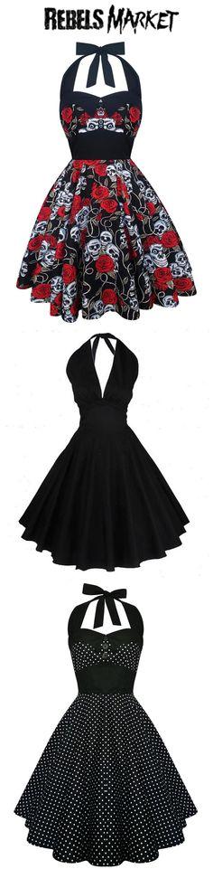 Shop women's rockabilly dresses at RebelsMarket! Rockabilly Looks, Rockabilly Fashion, 1950s Fashion, Rockabilly Dresses, Gothic Fashion, Vintage Fashion, Rockabilly Girls, Pin Up Outfits, Pin Up Dresses