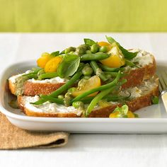 Protein: 22 grams per serving Soybeans add protein and fiber to this vegetarian main-dish salad. The veggies go perfectly with toasted crusty bread topped with a tangy feta cheese and garlic spread that you can make ahead.