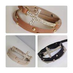 Crystal Cross Leather Wrap Bracelets