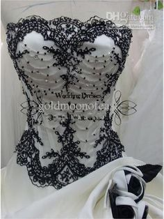 White sweetheart satin with black lace and beadings ball gown ruffles wedding dresses,