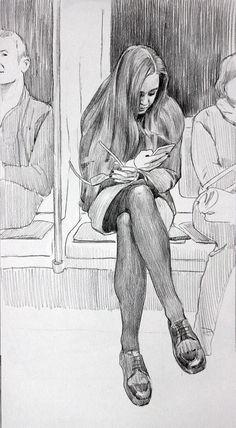 """Серия """"Люди в городе"""" Московская осень. Метро(бумага,графитный карандаш) Анастасия Ермакова"""