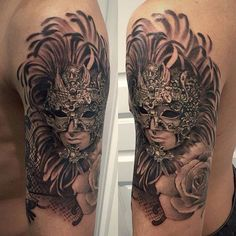 Chronic Ink Tattoo - Toronto Tattoo  Venetian mask tattoo done at our shop by guest artist Janice.