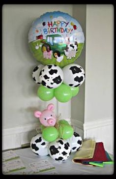 Elegant Balloons, located in Pearl River, provides fabulous balloon decorations to the New York and New Jersey area. Farm Animal Party, Farm Animal Birthday, Barnyard Party, Farm Party, Party Animals, Birthday Balloon Decorations, Balloon Centerpieces, Birthday Balloons, Farm Birthday