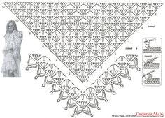 Shawl Crochet Patterns Part 19 - Beautiful Crochet Patterns and Knitting Patterns Débardeurs Au Crochet, Poncho Au Crochet, Crochet Shawl Diagram, Beau Crochet, Crochet Wrap Pattern, Crochet Shawls And Wraps, Crochet Stitches Patterns, Crochet Chart, Crochet Scarves