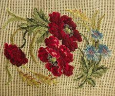 poppies Needlepoint Stitches, Needlepoint Canvases, Needlework, Cross Stitch Embroidery, Hand Embroidery, Embroidery Designs, Cross Stitch Designs, Cross Stitch Patterns, Ribbon Work