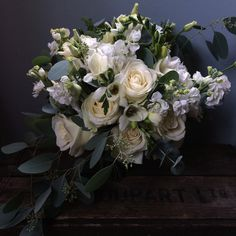 Dee's scented bouquet of Norma Jean and Avalanche roses, stocks, freesias, and lisianthus with populus