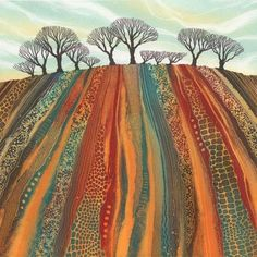 Giclee prints by Northumberland artist Rebecca Vincent. Inspirational for a landscape quilt. Landscape Art Quilts, Landscape Paintings, Landscapes, Art Paintings, Art And Illustration, Landscape Illustration, Art Textile, Aboriginal Art, Tree Art