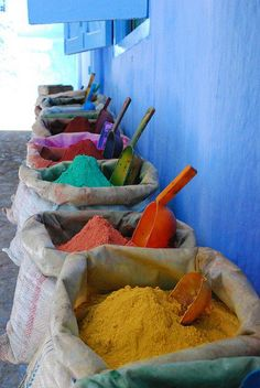 baskets of pigments -  gets me going!!!   Love color