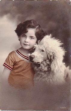 Vintage Postcard ~ Girl w/Poodle