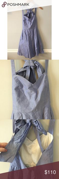 "Lauren James • The Livingston Chambray Bow Dress Lauren James • Chambray Bow Dress  Livingston tie back bow dress in Royal Oxford color. Sweetheart neckline, Crisscross back with self-tie bow, full skirt fully lined.  partial zip back closure polyester/cotton  NWOT - no flaws. Underarm Span: 17.5"" Waist: 13.5"" Length: 36.5"" Lauren James Dresses"