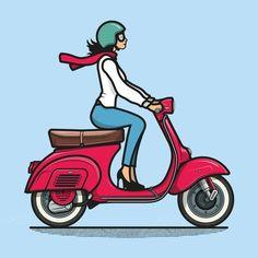 Piaggio Vespa 90 with Rider – Vintage Italian Style – Digital Illustration Vespa Illustration, Digital Illustration, Graphic Illustration, Vintage Italian, Italian Style, Scooter Drawing, Icon Design, Logo Design, Flat Design