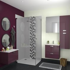 Collection de salle de bain violette delpha d motion - Changer porte meuble salle de bain ...