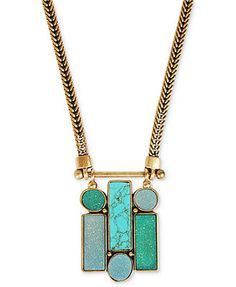 Lucky Brand Necklace, Gold-Tone Geometric Stone Pendant Necklace