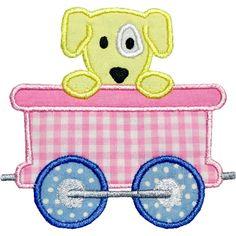 Train Car Puppy Applique Design
