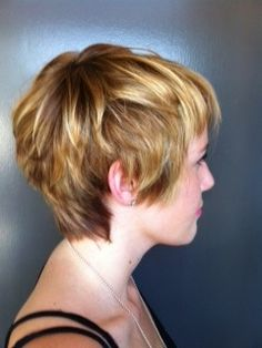 Pixie haircut,I love the color.