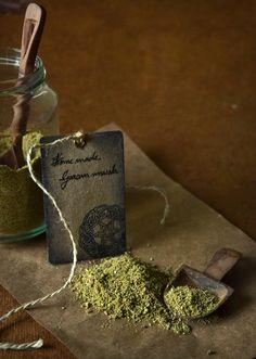 A Garam Masala recipe: Cardamom pods, Cloves, Cinnamon stick, Fennel seeds, Black pepper, Star anise, Nutmeg, Mace.