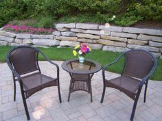 Oakland Living Tuscany Resin Wicker Outdoor Set with 2 Chairs