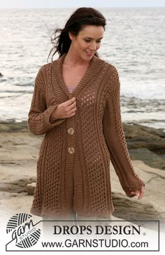 """DROPS jacket in lace pattern in """"Cotton Viscose"""" and """"Safran"""". Size S – XXXL ~ DROPS Design"""