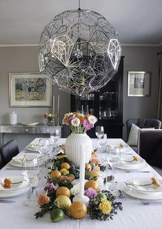 http://anettewillemine.com/  - My table setting, tablescape in fresh colors with fruit and flowers, made for a Confirmation. Borddekking i friske farger med frukt og blomster, til konfirmasjon.