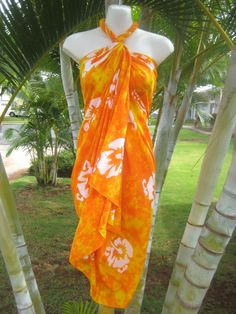 7667bb38c7 Details about Hawaii Sarong Plus Size Orange Hibiscus Coverup Pareo Beach  Pool Wrap Dress
