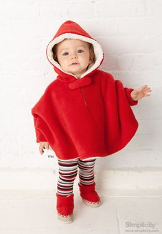 Babies hooded poncho - festive for the #holiday season! #SimplicityPatterns