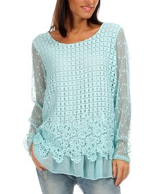 Loving this Green Water Crochet Long-Sleeve Tunic on #zulily! #zulilyfinds