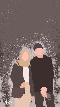 Cute Home Screen Wallpaper, Cute Couple Wallpaper, Cute Couple Drawings, Cute Couple Art, Cute Muslim Couples, Cute Couples Goals, Kawaii Wallpaper, Cartoon Wallpaper, Couple Illustration