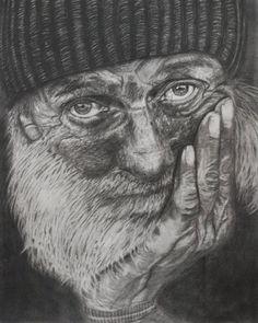 Portrait of a Homeless Man, the community we seek to help. Homeless Man, Homeless People, Man Photography, Medical Illustration, Realism Art, Black And White Portraits, Old Men, Portrait Art, Pencil Portrait