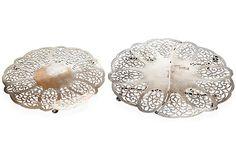"""Vintage/Antique Pair Silverplate Trivets w/ Open Lace Motif 1.5""""H x 12""""Dia  $325"""