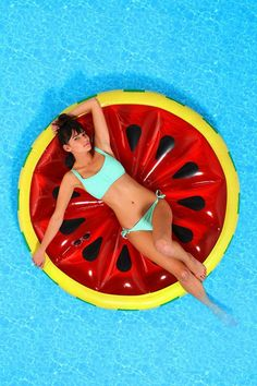 Watermelon Slice Pool Float #urbanoutfitters Keep Your iPad dry at the Pool - try a suction-mount, waterproof Splashtablet iPad Case.  Free Shipping! Under $40. On Amazon. Great Reviews