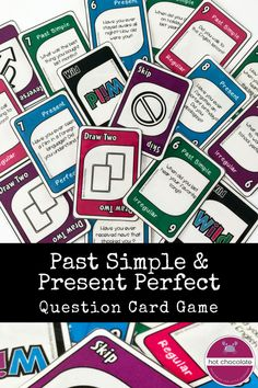 Practice and improve the Past Simple and Present Perfect verb tenses in English with this fun and engaging card game that all students love. Both regular and irregular past simple verbs and Have you ever questions help students respond to different tenses Teaching English, Learn English, English Class, Teaching Spanish, English Games, English Quiz, English Language Arts, English Grammar, Vocabulary Games