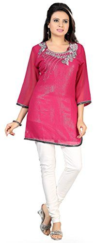 43ffba90cc Indian Long Kurti Top Tunic Sequins Womens India Clothes (Pink
