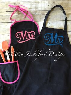 A personal favorite from my Etsy shop https://www.etsy.com/listing/513221832/mr-mrs-aprons