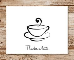 Set of 8 Thanks a Latte Cards | Thank You Cards | Coffee Cup | Personalized | Coffee Mug Note Cards, Notecards
