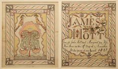 "EXTREMELY RARE AND IMPORTANT HAMPSHIRE CO., VIRGINIA (NOW WEST VIRGINIA) FRAKTUR, watercolor, ink, and gold leaf on paper. A birth and death record made for Collam Kelley featuring a spread-wing eagle perched on a flowering vine above ""COLLAM P. / KELLEY / Son of Thomas and Rosannah Kelley / Born Dec. 27th 1845 Died Oct. 7th 1846 Aged 9 Months 11 Days"""