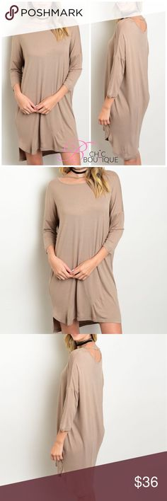 "Mocha Jersey Knit Tunic Dress Jersey knit dress with strap along neckline. Made of Rayon/ spandex blend.  Measurements for small Length : 34"" Bust: 40"". Striped. Can be worn as a tunic paired with leggings too! Bchic Dresses"
