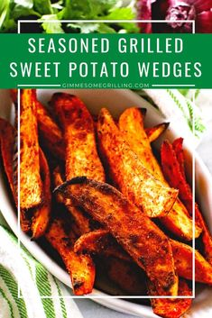 Grilled Sweet Potato Wedges with a spicy sweet seasoning are the perfect healthy grilling recipe! Healthy Grilling Recipes, Heart Healthy Recipes, Cooking Recipes, Grill Recipes, Barbecue Recipes, Vegetarian Grilling, Barbecue Sauce, Bbq Grill, Healthy Meals