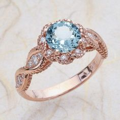 14K Vintage Rose Gold Diamond Engagement Ring Center Is A